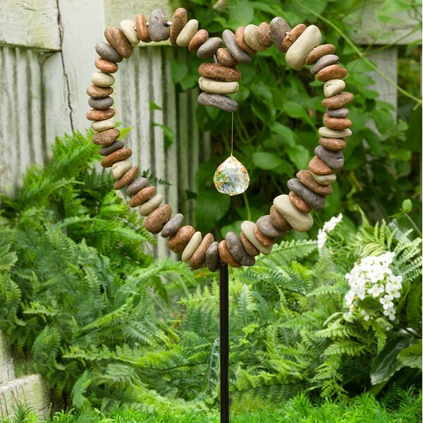 Rock Heart Decorative Garden Stake by Wind & Weather