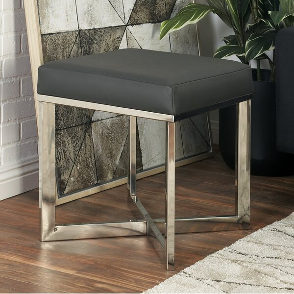 Stainless Steel Leather Vanity Stool by Cole & Grey