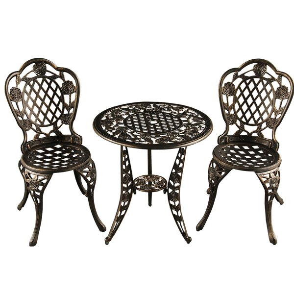 Rockhampton Rose Ornate Traditional 3 Piece Bistro Set by Astoria Grand