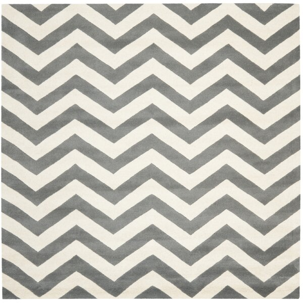 Wilkin Hand-Tufted Wool Dark Gray/Ivory Chevron Area Rug by Wrought Studio