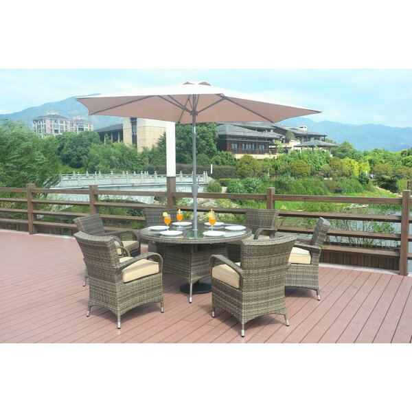 Forbes 7 Piece Outdoor Dining Set With Cushions by Rosecliff Heights