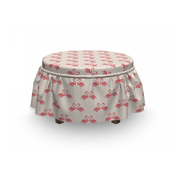 Flamingo Retro Dots Tropic Bird 2 Piece Box Cushion Ottoman Slipcover Set By East Urban Home