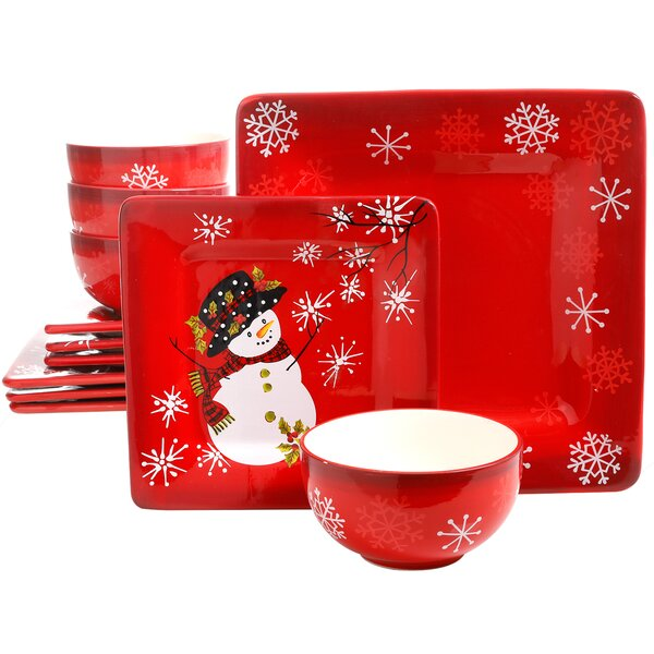 Cuomhouse Snappy Snowman 12 Piece Dinnerware Set, Service for 4 by The Holiday Aisle