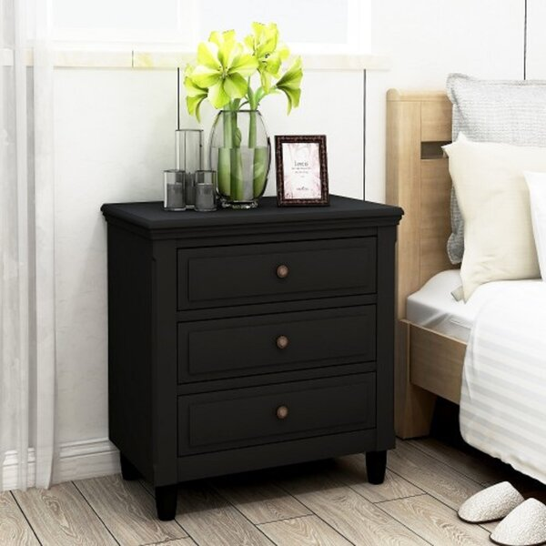 Lihua 3 - Drawer Nightstand In Black By Red Barrel Studio®