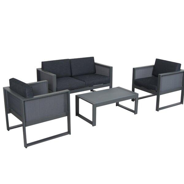 Glasgow 4 Piece Sofa Set with Cushions by Williston Forge