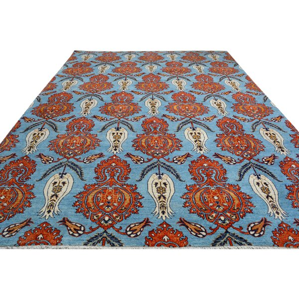 One-of-a-Kind Palmquist Hand-Knotted Wool Light Blue/Orange Area Rug by Bloomsbury Market