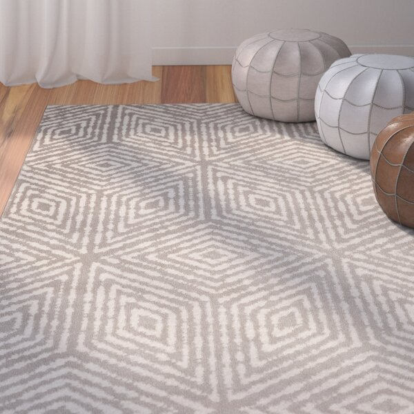 Durant Cubes Gray/Ivory Area Rug by Bungalow Rose
