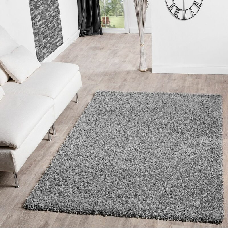 Shaggy Rug High Pile Plain Solid Colour Living Room Beige Inexpensive Oeko Tex