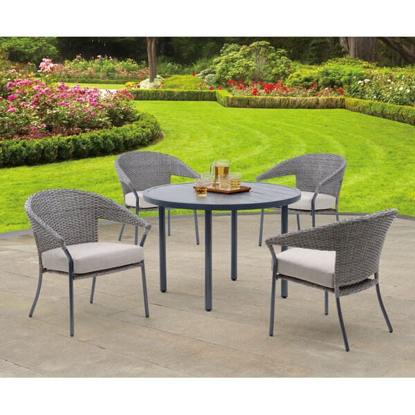Alyse Woven 5 Piece Dining Set with Cushions by Alcott Hill
