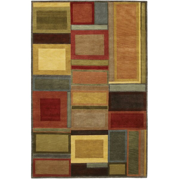 Quast Blocks Hand-Knotted Brown Area Rug by Latitude Run