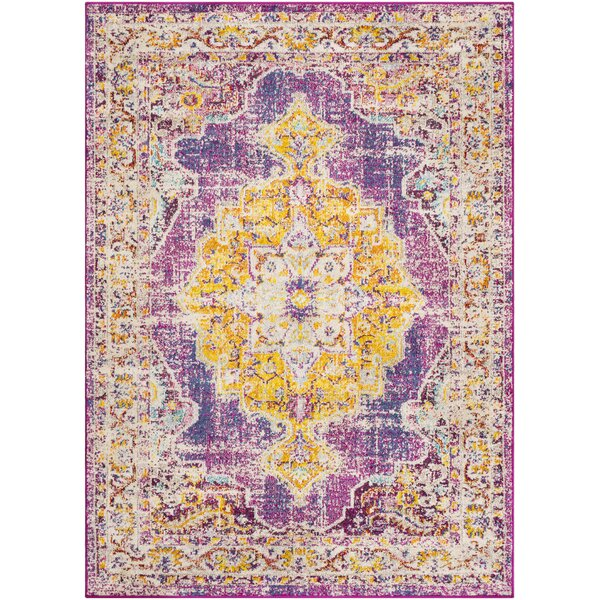Berry Purple/Yellow Area Rug by Bungalow Rose