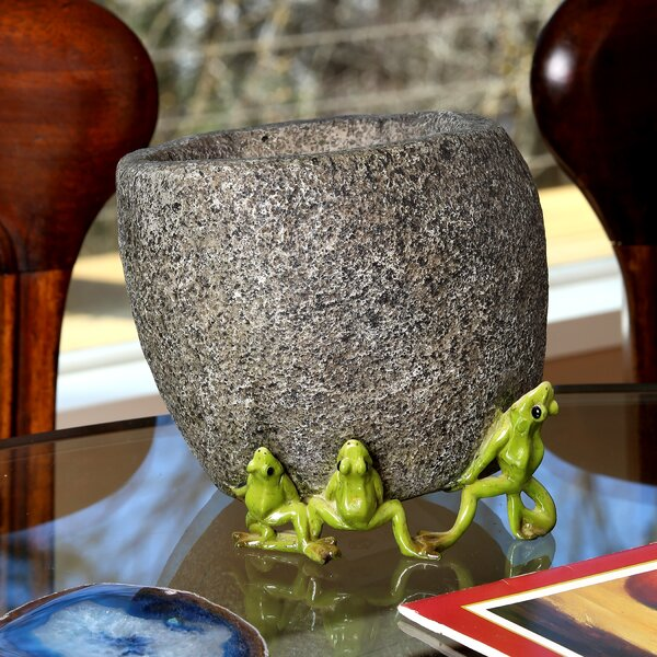 Herbst Pair Frogs Lifting Stone Resin Pot Planter by August Grove