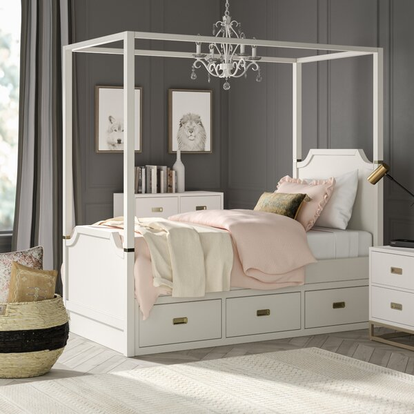 Tazewell Canopy Bed with Trundle, Soft White by Greyleigh