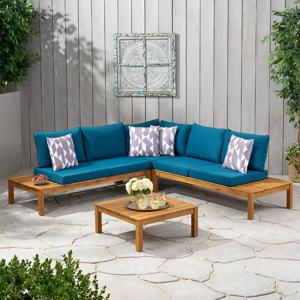 Danielle Outdoor V Shaped 4 Piece Sectional Seating Group with Cushions by Rosecliff Heights