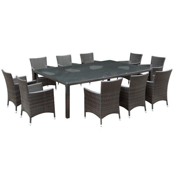 Alfresco 11 Piece Dining Set with Cushions by Modway