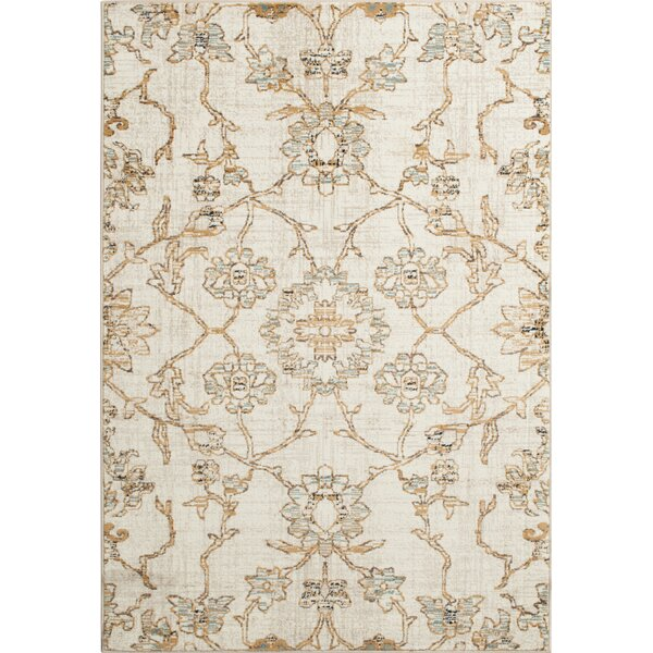 Rattlesnake Hill Keomah Ivory/Gold Area Rug by Bungalow Rose