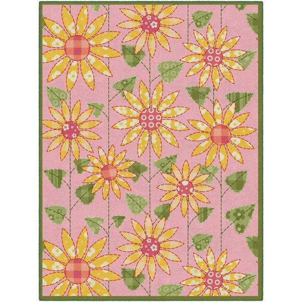 Olney Flower Pink/Orange Area Rug by Ebern Designs