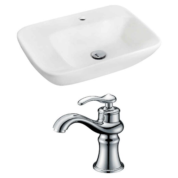 Ceramic 23.5 Wall-Mount Bathroom Sink with Faucet