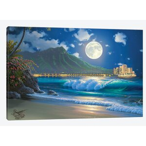 Waikiki Surf Aglow Painting Print on Wrapped Canvas by East Urban Home