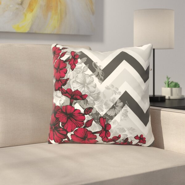 Santini Chevron Floral Throw Pillow by Latitude Run