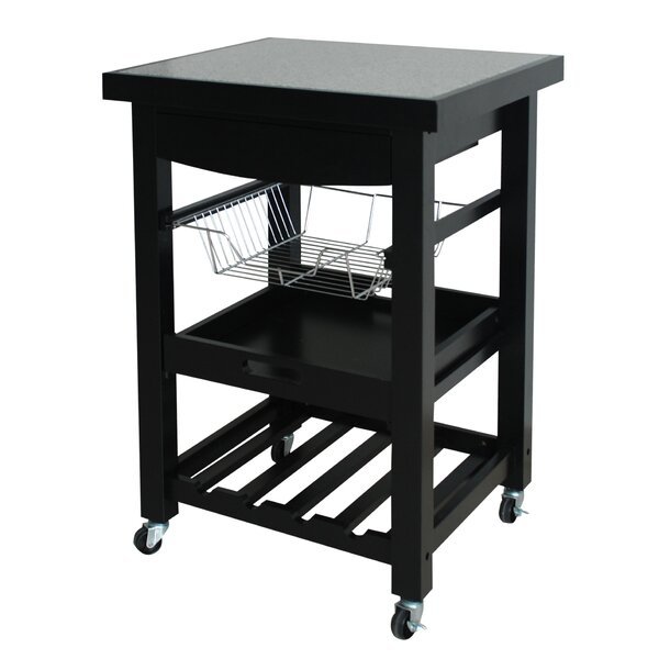 Izabella Compact Kitchen Cart with Granite Top by Winston Porter
