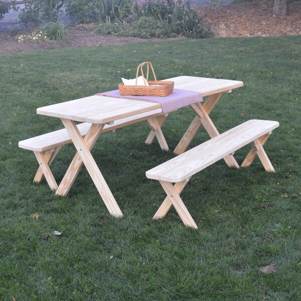 Saratoga Pine Cross-leg Picnic Table with 2 Benches by Loon Peak