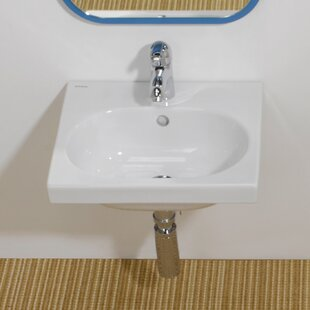 Deals Traffic Ceramic 17 Wall Mount Bathroom Sink with Overflow By Bissonnet