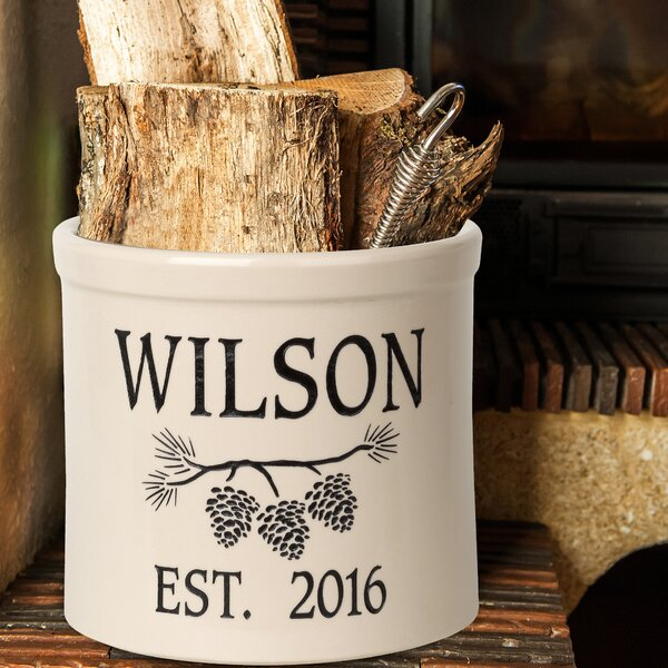 Woodley Personalized Pine Bough Ceramic Pot Planter by August Grove