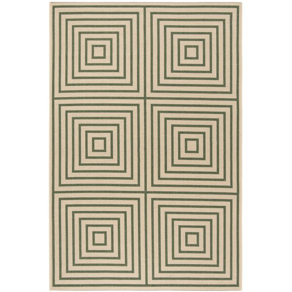 Shantell Cream/Green Area Rug by Brayden Studio