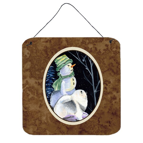 Snowman with Keeshond Painting Print Plaque by Caroline's Treasures