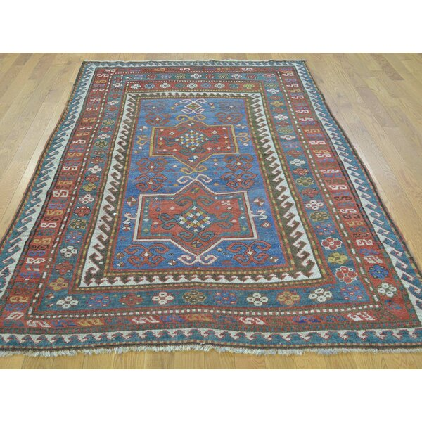 One-of-a-Kind Brandonville Antique Caucasian Karachopf Hand-Knotted Blue Wool Area Rug by Isabelline