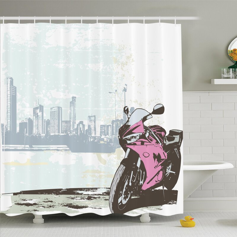 Roloff Motorbike By River Shower Curtain Set