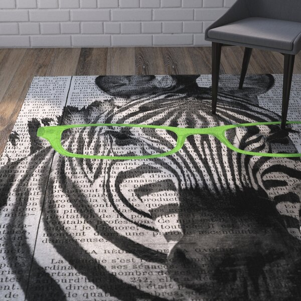 Bakker Zebra in Glasses Area Rug by Wrought Studio