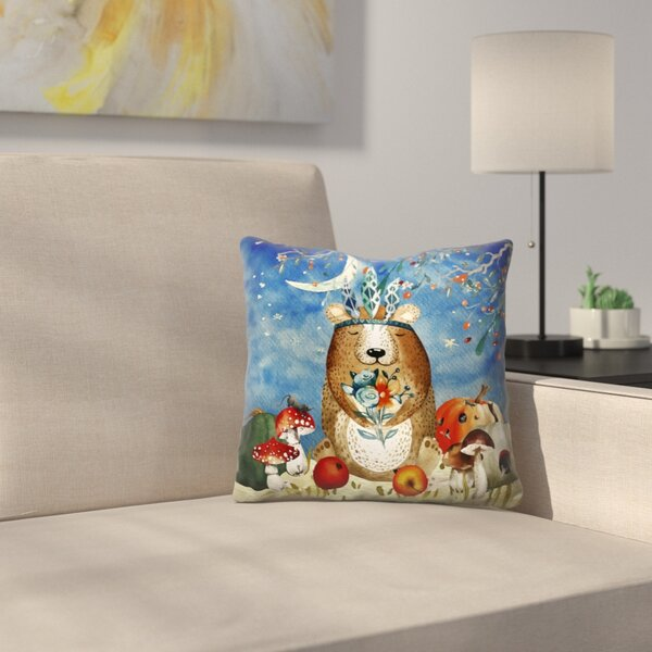 Sleepy Bear in Autumnal Forest Throw Pillow by East Urban Home