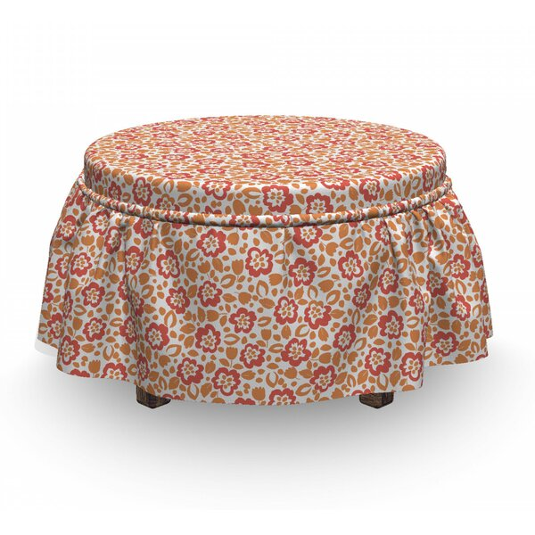Petals And Leaves In Pastel Ottoman Slipcover (Set Of 2) By East Urban Home