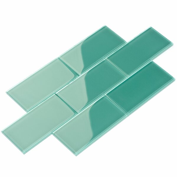 3 x 6 Glass Subway Tile in Teal by Giorbello