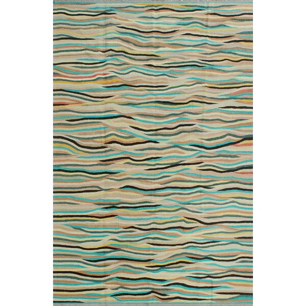 Dickie Hand-Knotted Wool Blue/Beige Area Rug by Bloomsbury Market