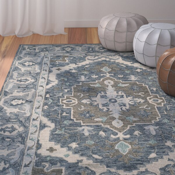 Chancellor Hand-Tufted Wool Dark Blue Area Rug by Bungalow Rose