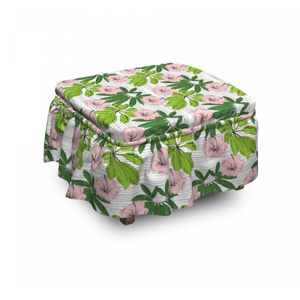 Hibiscus Flora Hand Drawn Ottoman Slipcover (Set Of 2) By East Urban Home