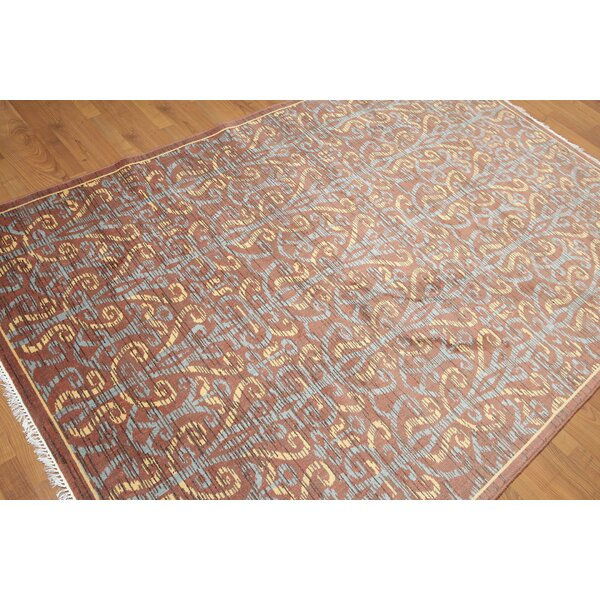 Dimattia Wool Rusty Brown/Blue Area Rug by Darby Home Co