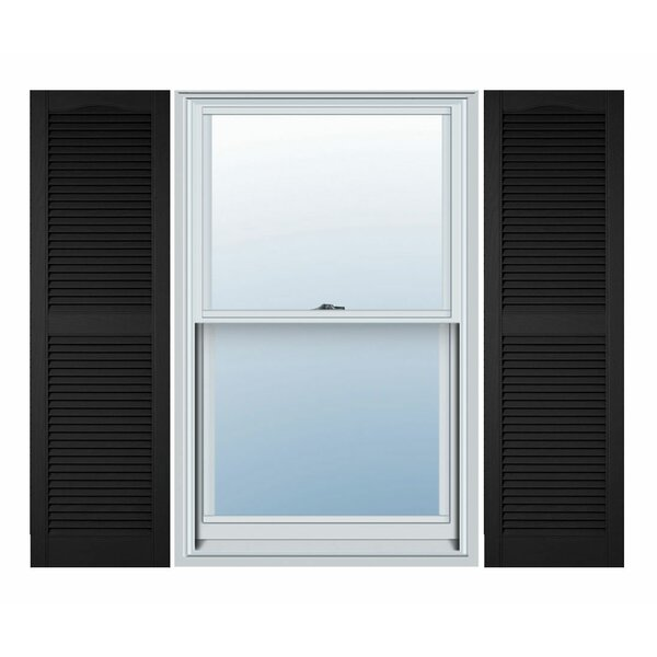 Vinyl Standard Cathedral Top Center Mullion Open Louver Shutter (Set of 2) by Ekena Millwork