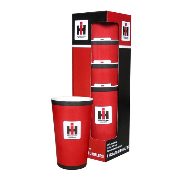 International Harvester 16 oz. Plastic Every Day Glass (Set of 4) by MotorHead Products