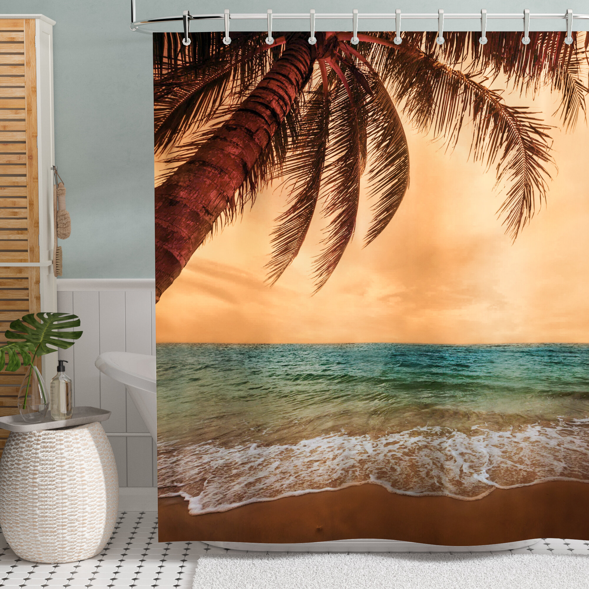 Tropical Sea Landscape Sunshine Palm Trees Shower Curtain Liner Waterproof 71 Home Garden Shower Curtains