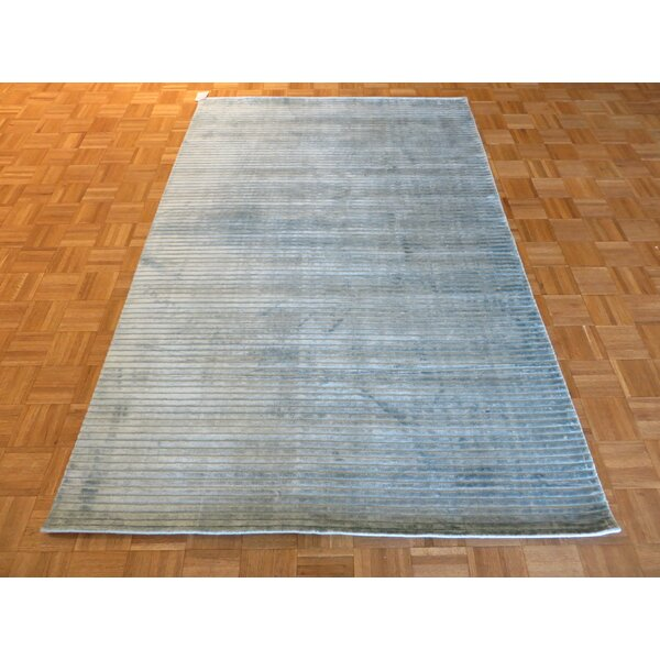 One-of-a-Kind Elbridge Hand-Knotted Sky Blue Area Rug by Red Barrel Studio