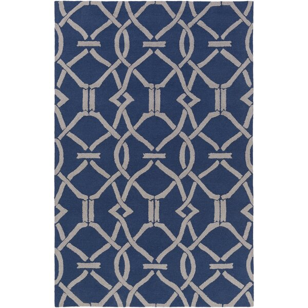 Dyess Hand-Crafted Navy Blue/Gray Area Rug by Charlton Home