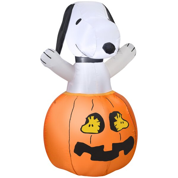 Snoopy in Pumpkin Inflatable with Woodstock SM Peanuts by The Holiday Aisle