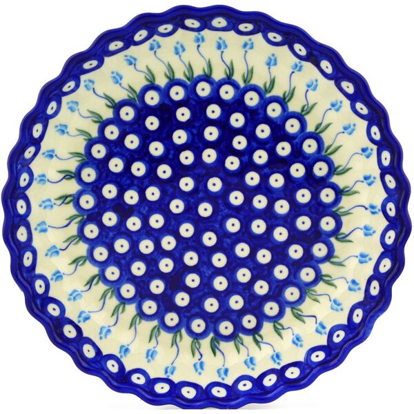 Floral Peacock Fluted Pie Dish by Polmedia