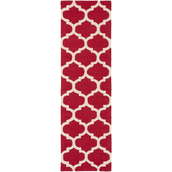 Blaisdell Stella Wool Red Area Rug by Charlton Home