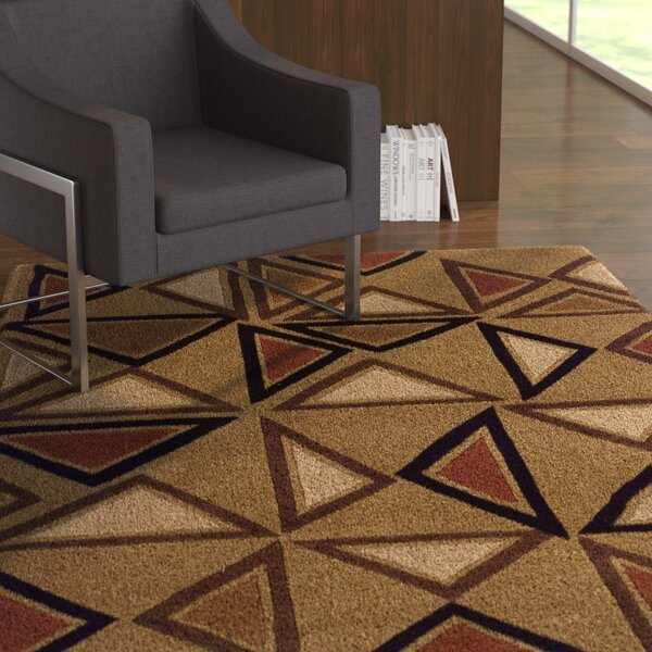 Opitz Hand-Tufted Camel/Brick Area Rug by Ebern Designs