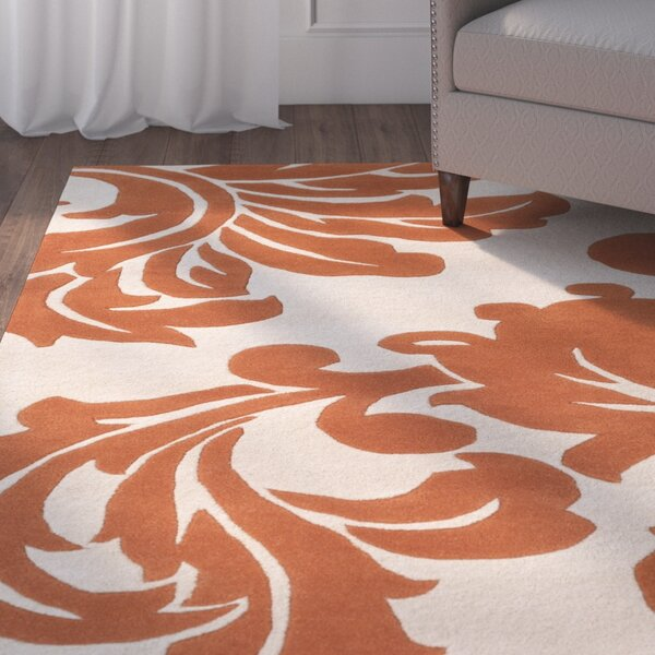 Rubin Hand-Woven Rust/Neutral Area Rug by Charlton Home